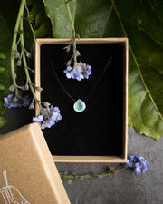 Aqua Blue Chalcedony Vegan Silk Necklace
