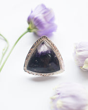 Blue John Ring in Sterling Silver - Size 7 1/2 US / P UK