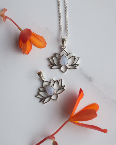 Blue Lace Agate Sterling Silver Lotus Necklace
