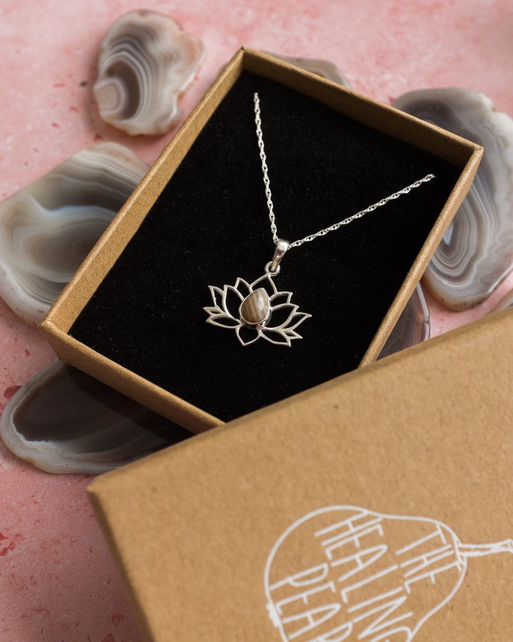 Thulite Sterling Silver Lotus Necklace