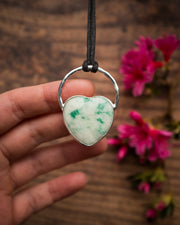 Jadeite Heart Sterling Silver Necklace