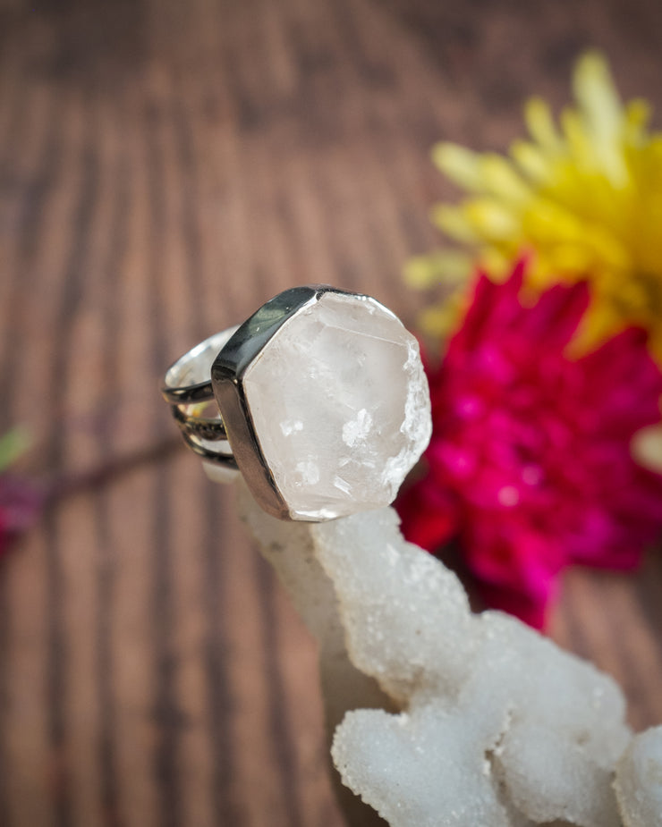 Raw Calcite Ring in Sterling Silver - Size 6 1/2 US / N UK