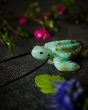 Chrysocolla Hand Carved Leatherback Sea Turtle Necklace