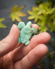 Small Chrysocolla Hand Carved Leatherback Sea Turtle Necklace