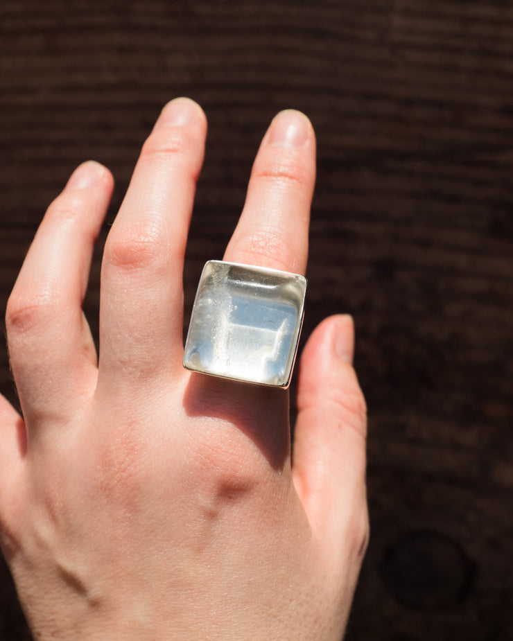 Clear Quartz Ring in Sterling Silver - Size 6 3/4 US / N 1/2 UK