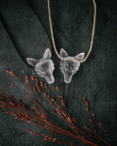 Clear Quartz Hand Carved Wolf Necklace