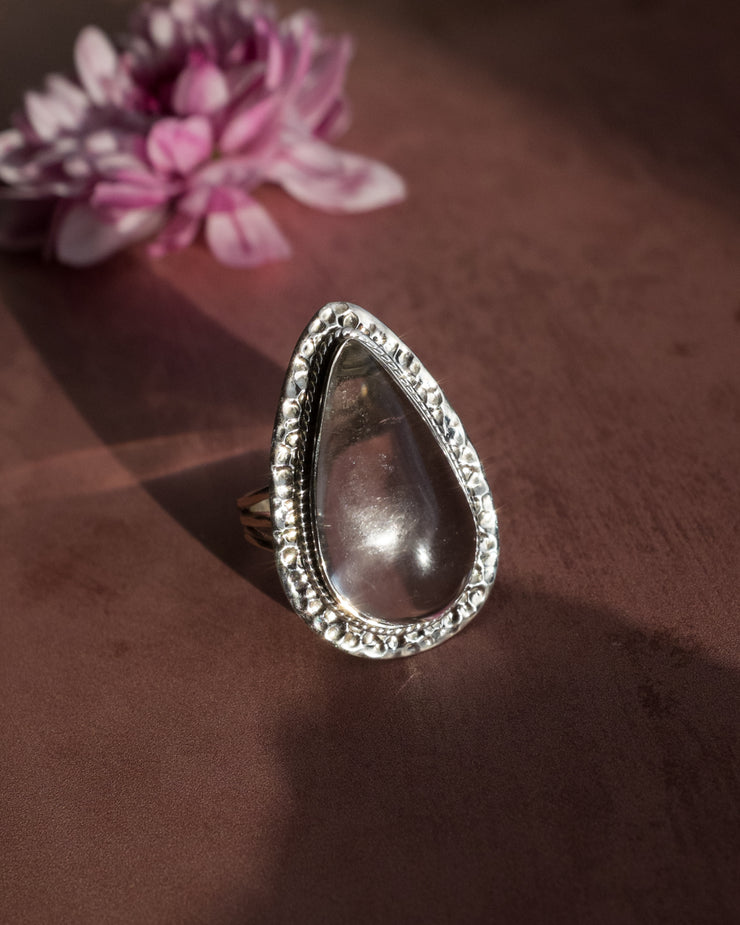 Clear Quartz Ring in Sterling Silver - Size 9 3/4 US / T 1/4 UK