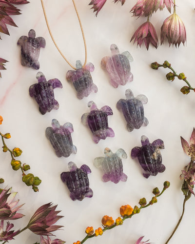 Small Rainbow Fluorite Hand Carved Leatherback Sea Turtle Necklace