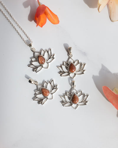 Goldstone Sterling Silver Lotus Necklace