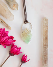 Green Calcite Sterling Silver Necklace