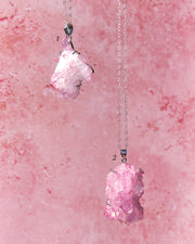 Rose Aura Quartz Cluster Sterling Silver Necklace
