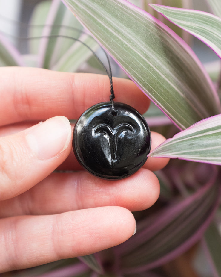 Black Onyx Hand Carved Star Sign Zodiac Necklace
