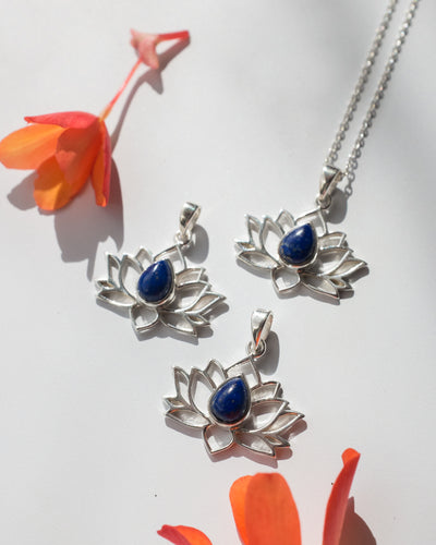 Lapis Lazuli Sterling Silver Lotus Necklace