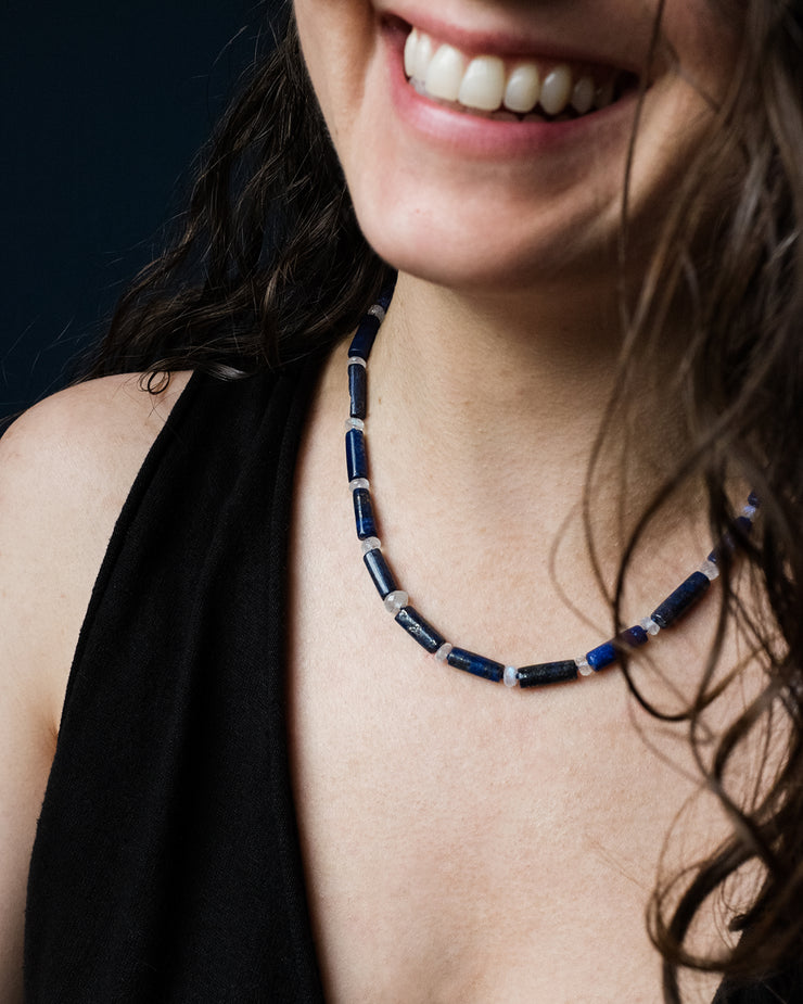 Lapis Lazuli & Rainbow Moonstone Hand Knotted Beaded Necklace