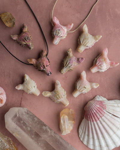 Large Pink Opal Hand Carved Wolf Necklace
