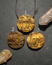 Tiger's Eye Hand Carved Lion Necklace