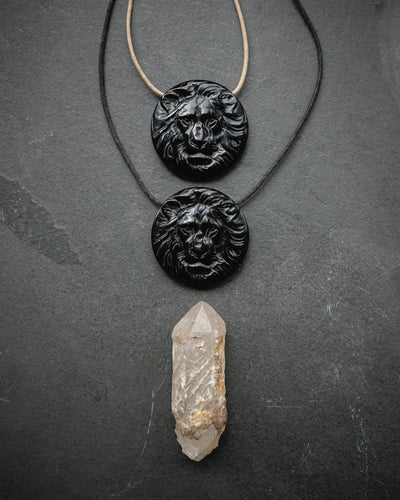 Obsidian Hand Carved Lion Necklace