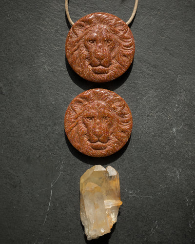 Goldstone Hand Carved Lion Necklace