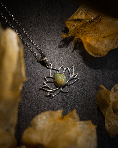 Ethiopian Opal Sterling Silver Lotus Necklace