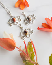 Mookaite Jasper Sterling Silver Lotus Necklace