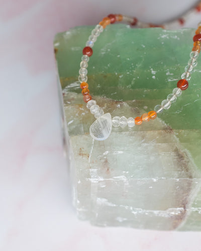 Rainbow Moonstone, Peach Moonstone and Carnelian Beaded Necklace/Choker