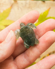 Small Moss Agate Hand Carved Leatherback Sea Turtle Necklace