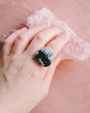 Snowflake Obsidian Heart Ring in Sterling Silver - Size 9 US / R 3/4 UK