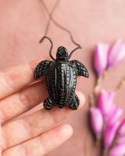 Obsidian Hand Carved Leatherback Sea Turtle Necklace
