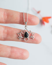 Black Onyx Sterling Silver Lotus Necklace