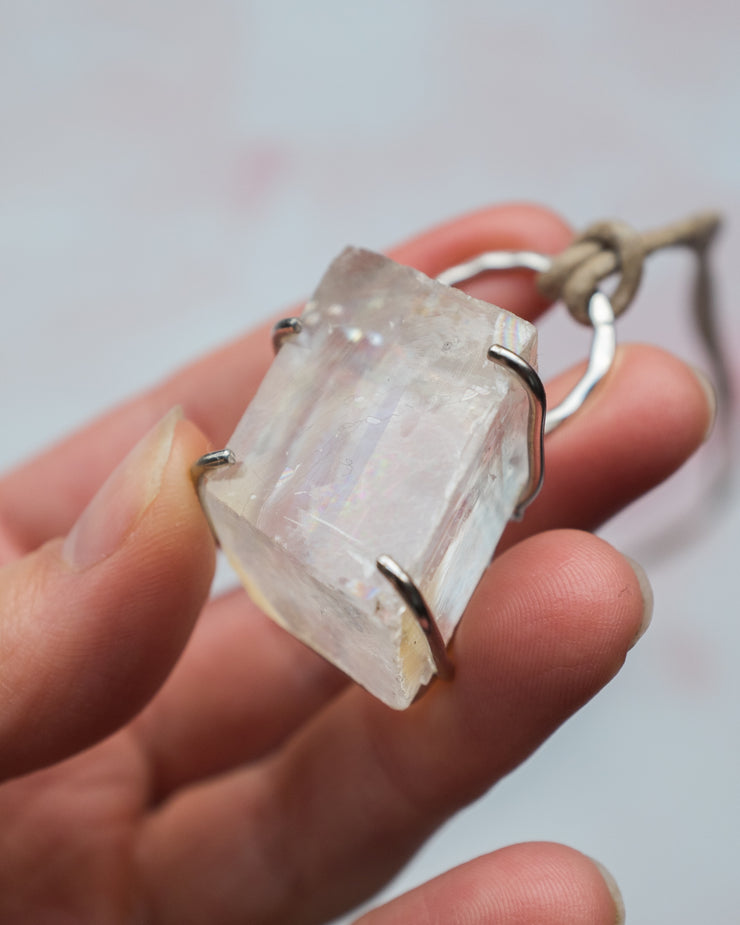 Optical Calcite Sterling Silver Necklace