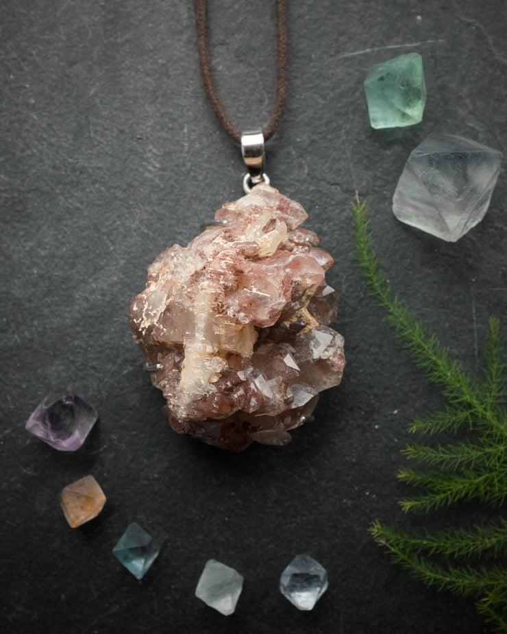Red Phantom Quartz Sterling Silver Necklace