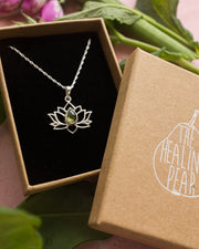 Peridot Sterling Silver Lotus Necklace