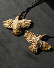 Picture Jasper Hand Carved Wolf Necklace