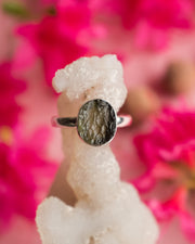 Moldavite Ring in Sterling Silver - Size 8 US / Q UK