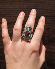 Ruby Dragon Ring in Sterling Silver - Size 6 US / M UK