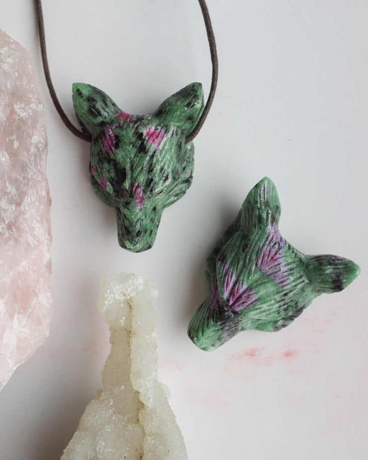 Large Ruby in Zoisite Hand Carved Wolf Necklace