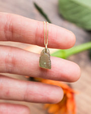Recycled 9ct Gold Cornish Sea Glass Necklace