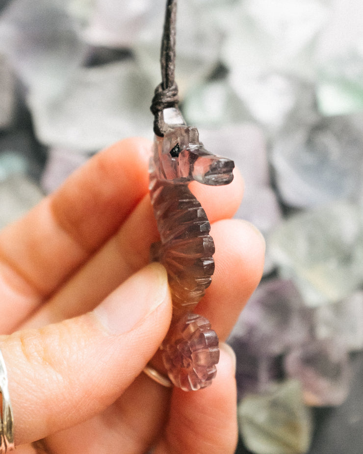 Small Fluorite Hand Carved Seahorse Necklace