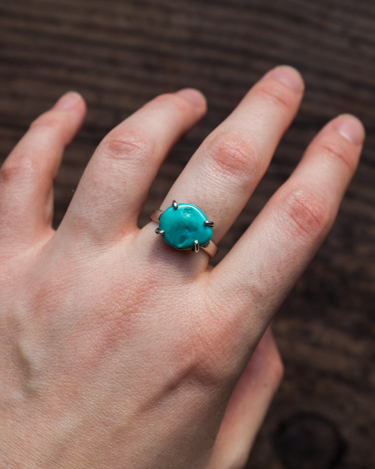 Sleeping Beauty Turquoise Ring in Sterling Silver - Size 6 1/2 US / N UK