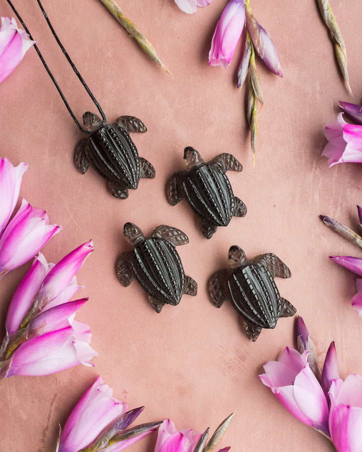 Smoky Quartz Hand Carved Leatherback Sea Turtle Necklace
