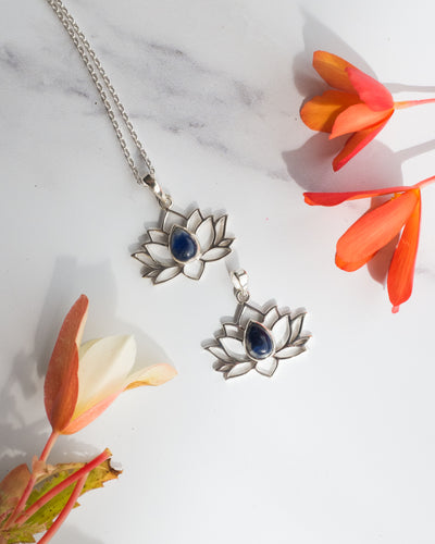 Sodalite Sterling Silver Lotus Necklace