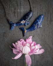 Sodalite Hand Carved Blue Whale Necklace