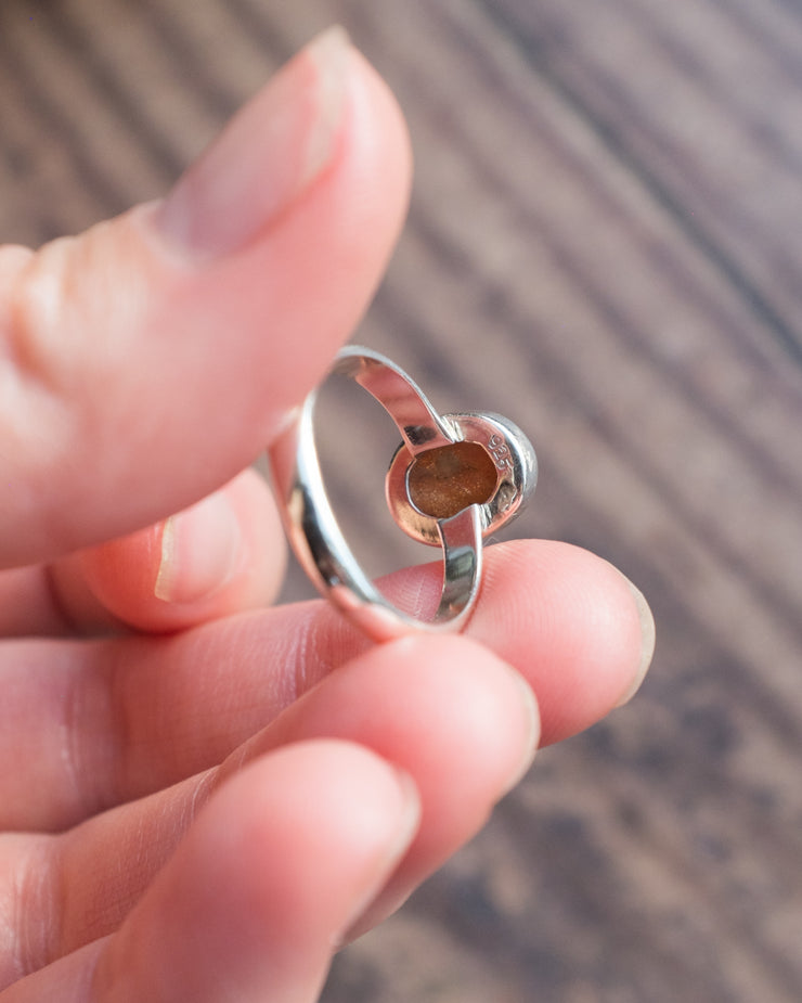 Sunstone Ring in Sterling Silver - Size 6 3/4 US / N 1/2 UK