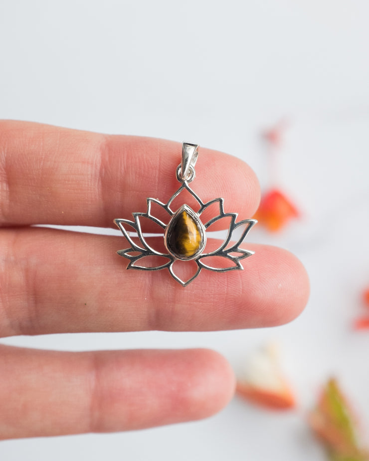 Tiger's Eye Sterling Silver Lotus Necklace