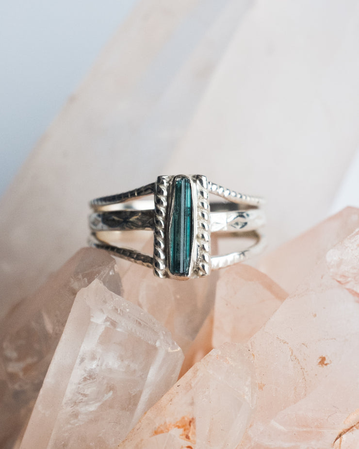 Blue Tourmaline Ring in Sterling Silver - Size 10 US / T 1/2 UK