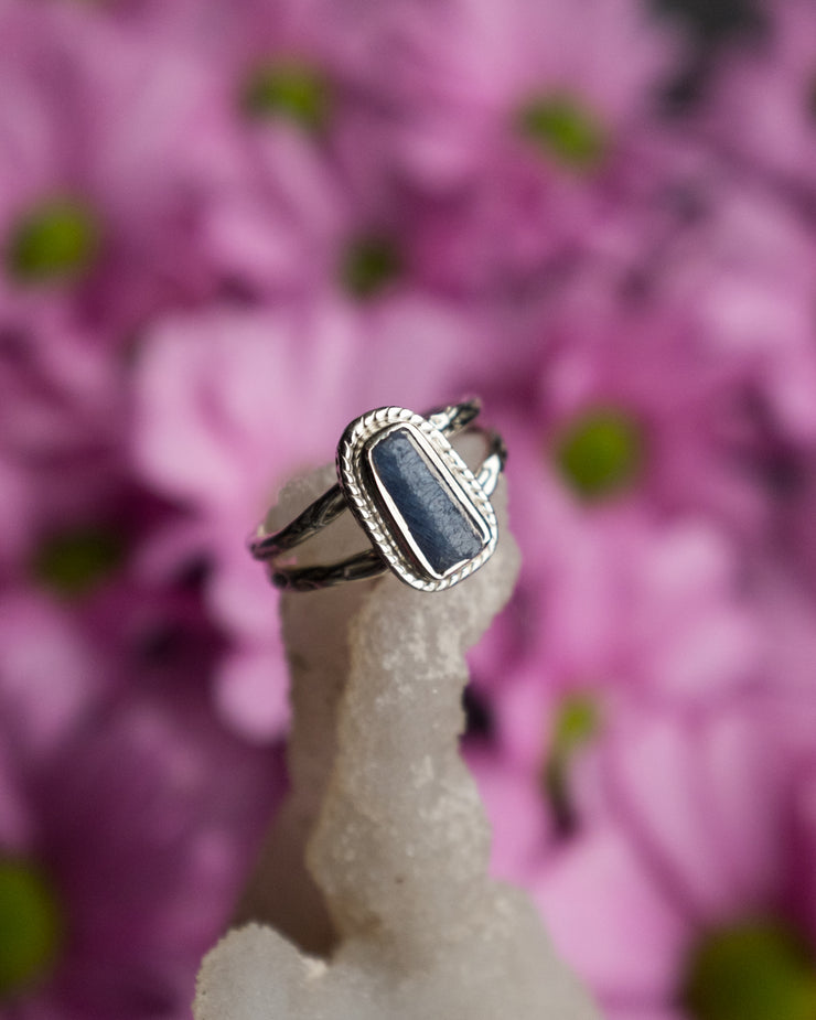 Blue Tourmaline Ring in Sterling Silver - Size 7 US / O UK