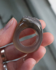 Raw Agate Ring - Size 8 US / Q UK