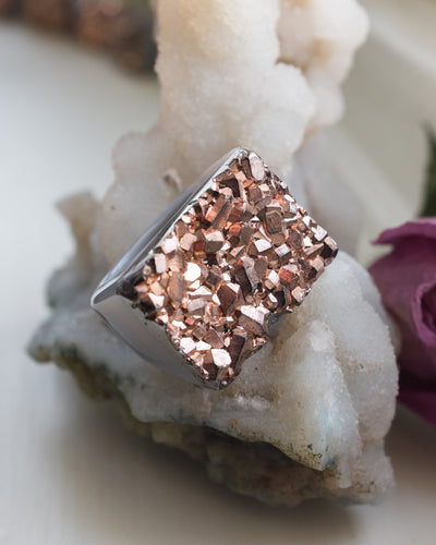 Rose Gold Coated Raw Quartz Ring - Size 6 US / M UK