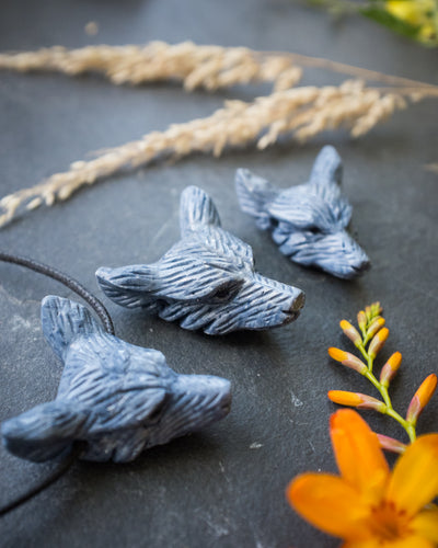 Blue Coral Hand Carved Wolf Necklace