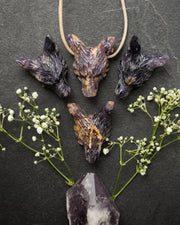 Deep Purple Fluorite Hand Carved Wolf Necklace